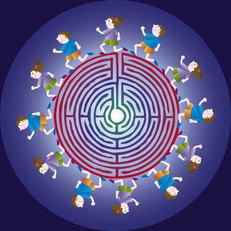 childern: Children run around the maze. Symbol for orienteering, for the orientation.