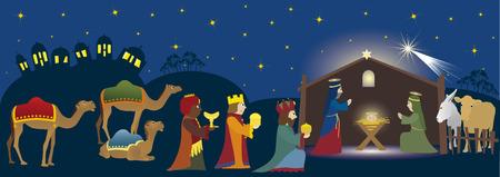 jeruzalem: Drie Koningen komt naar Bethlehem, kribbe whit drie magiërs, Jezus, Maria, Josef en dieren, bijbelse scène