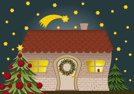 Festively decorated house and Christmas tree Vector