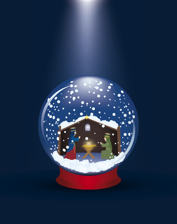 Christmas glass ball with a nativity scene and snow Vector