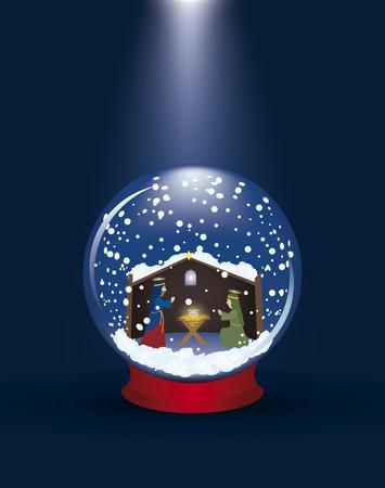 betlehem: Weihnachten Glas Kugel mit einem Krippe Szene und Schnee