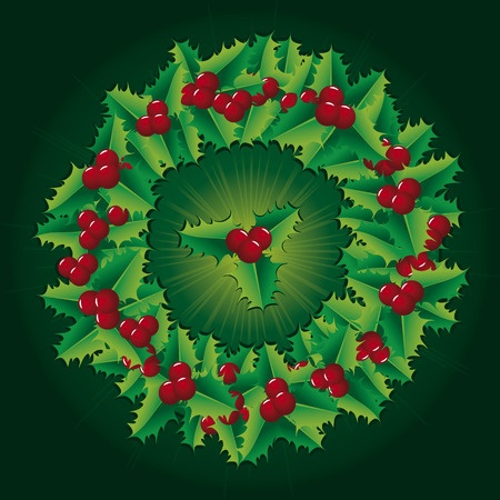 Green Christmas decorations like holly wreath Vector