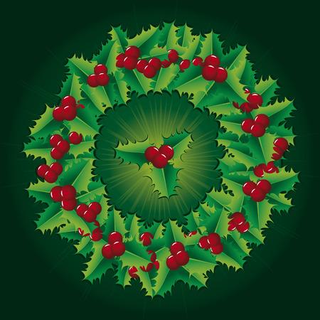 Green Christmas decorations like holly wreath Vector