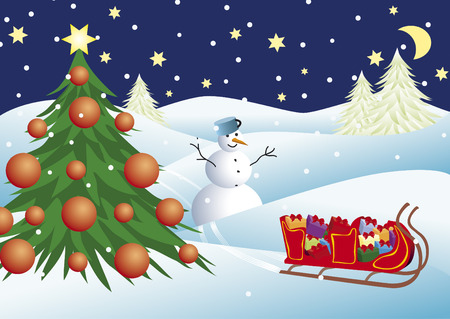 Christmas scene with gifts, snowman and christmas tree Vector