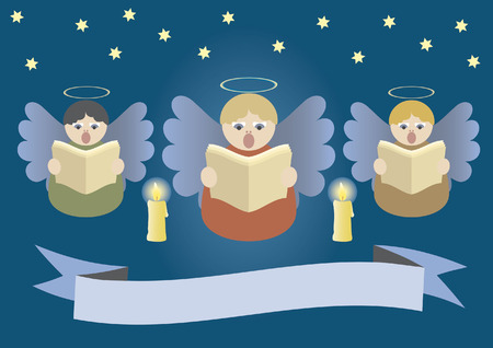 Angels singing on Christmas stardust sky Vector