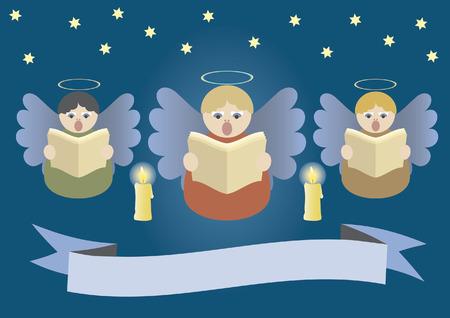 Angeli cantando sul cielo di Natale stardust