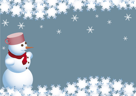 wintry: Christmas wishes of the snowman, snow flake, compliment of the season Illustration