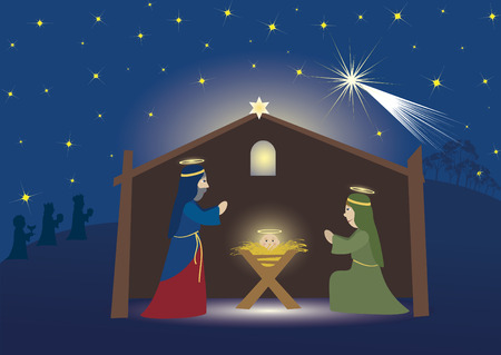 jeruzalem: Drie koningen die naar Bethlehem, nativity scene whit drie magiërs, Jesus, Mary en Josef, bijbelse scène
