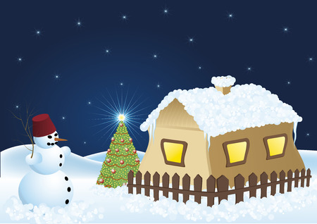 snowmen christmas tree and snowy house, in the night Vector