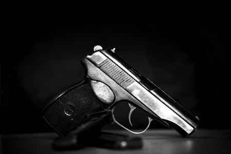 Military weapon combat army pistol in black and white