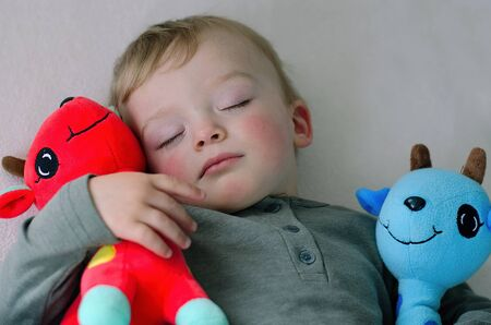 Cute boy likes sleeping with his stuffed animals. Toddler holds his favorite stuffed toys. Child concept.