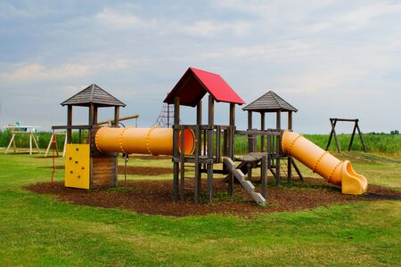 Nice playground with slides in beautiful enviroment. Rust at Lake Neusiedl. Austria Standard-Bild