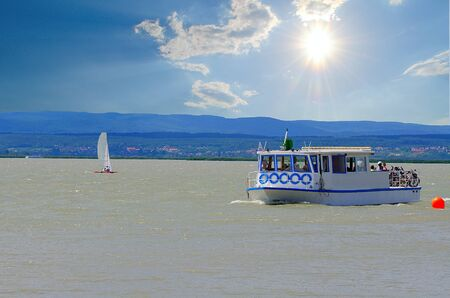 Sailing boats on Lake Neusiedl in Austria, Europe.
