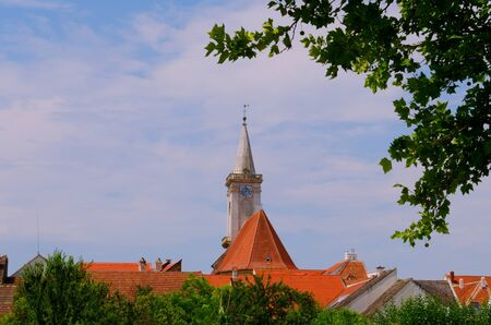 Church and roofs of houses in Rust on Neusiedl lake. Burgenland, Austria.