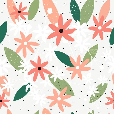 Seamless colorful floral pattern background vector Illustration