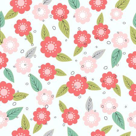 Seamless cute flowers pattern on light blue background Illustration