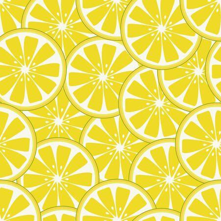 Seamless fresh lemon slices pattern Vettoriali