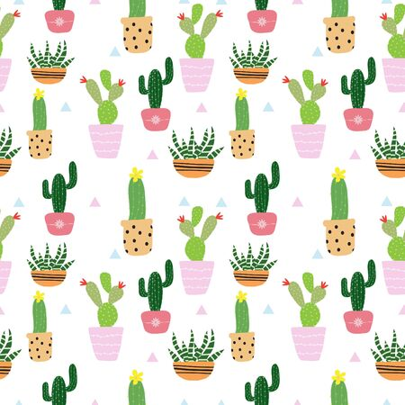 Seamless hand drawn potted plants, cactus pattern background vector illustration for design