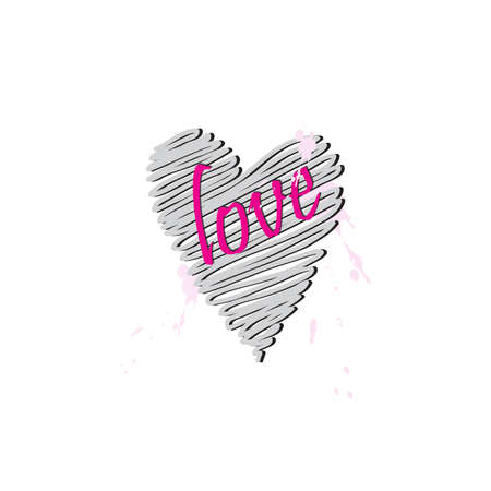Hand drawn heart shape with Love lettering Ilustração