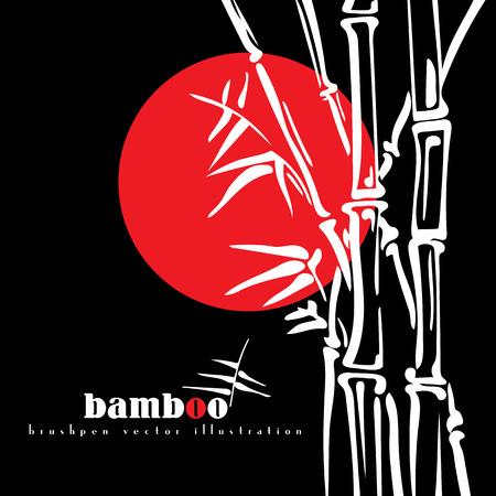 asiatic: Bamboo stems ink pen painting style. Simple black bamboo illustration on black background. Bamboo bush. Bamboo leaves.