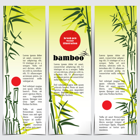 bamboo leaves: Bamboo stems layout banner set ink pen painting style. Simple green fresh bamboo illustration background. Bamboo bush. Bamboo leaves. Illustration