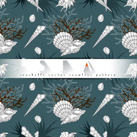 oceanarium: Seashells line art vector seamless pattern with ocean corals and alae in different forms on a turquoise background. Sea life, seashels collection underwater isolated hand drawn concept illustration.