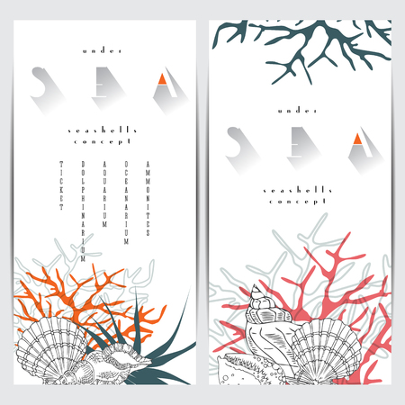 adult cruise: Sea life concept design, seashells vector line art composition with corals, algae and text. Coral reef graphic design card on white background with sea logo.