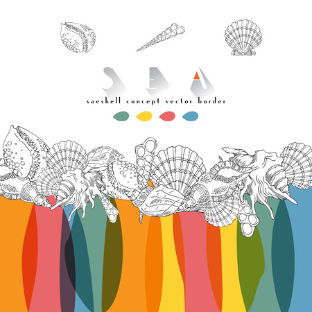 adult cruise: Seashells vector color tropical concept border. Seashells isolated line art illustration with different multicolor spots. Illustration