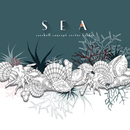 조개 벡터 테두리 청록색 개념 테두리입니다. 조개 다른 산호, 해 조류, 바다 생활 및 배경 라인 아트 그림을 격리합니다.