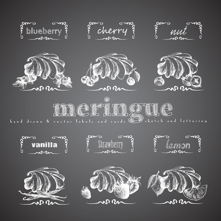 meringue: Meringue hand drawn collection. Vector vintage illustration with cherry, blueberry, vanilla, nut, strawberry, lemon and letter elements. Illustration
