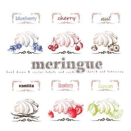 Meringue hand drawn collection. Vector vintage illustration with cherry, blueberry, vanilla, nut, strawberry, lemon and letter elements. Illusztráció