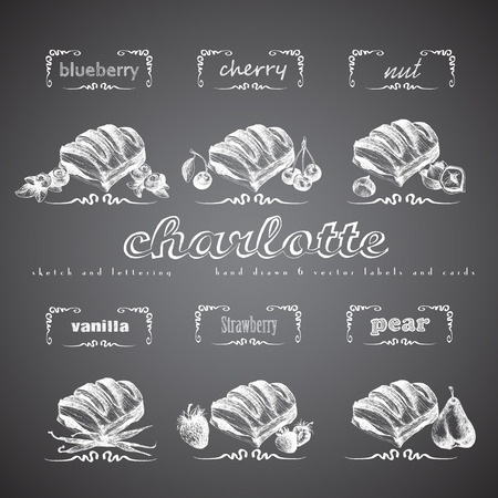 sweetshop: Charlotte puff bun hand drawn collection. Vector vintage illustration with cherry, blueberry, vanilla, nut, strawberry, pear and letter elements. Chalk imitation.