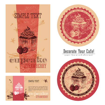 execution: Strawberry cupcakes, eco-friendly packaging design and execution of a cafe, a paper bag, business card, sticker and beermat. Decorate your cafe.