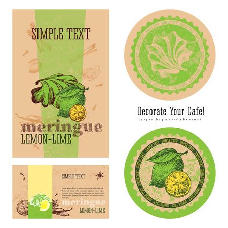 negocios comida: Lima-limón merengue, diseño de envases ecológicos y ejecución de un café, una bolsa de papel, tarjetas de visita, etiqueta y beermat. Arte para las cafeterías.