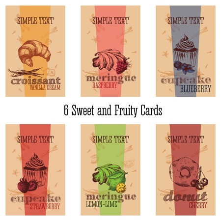 fruity: 6 sweet and fruity cards for bakery shop and confectionery. Vector sketch design pastries: croissant, cupcake, meringue, donut with fruit and berry.
