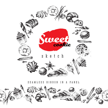 meringue: Sweet delicious sketch food round frame and seamless ribbon. Vector elements: ?upcake, meringue,  cookie, candy, croissant, macaroon, pie, donut, puff. Illustration