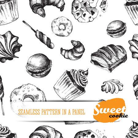 meringue: Sweet delicious sketch food seamless pattern. Vector pattern elements: ?upcake, meringue, cookie, candy, croissant, macaroon, pie, donut, puff.
