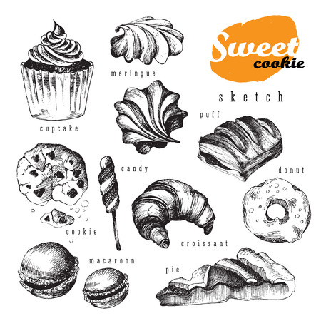 Sweet delicious sketch food design big set for bakery shop. Vector isolated elements: ?upcake,  meringue, cookie, candy, croissant, macaroon, pie, donut, puff. Illusztráció