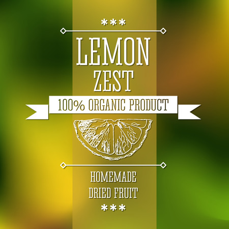 flavour: Spice lemon zest neat hand drawn monochrome label flavour modern design. Lemon zest sketch  pictures with text and ribbon on a vector colorful background.