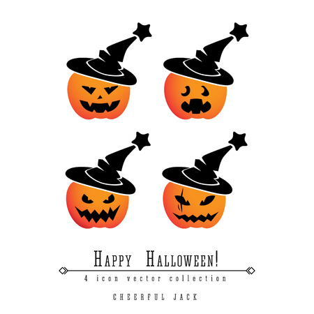 Jack OLantern pumpkin faces in magic hat glowing eye vector Halloween icon set on white background Illustration