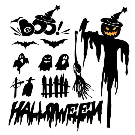 phantom: Set of halloween silhouette on white background, scarecrow with scary jack o lantern.