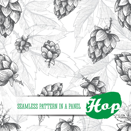 Birra luppolo seamless di disegnati a mano luppolo coni e luppolo foglie, sfondo bianco e nero, disegno e progettazione incisione luppolo piante. Tutto elemento isolato.
