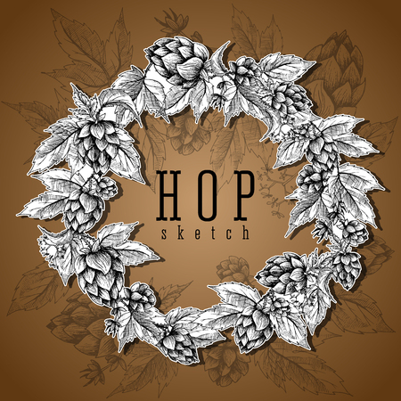 common hop: Beer hops round frame hand drawn hops branches with leaves, cones and hops flowers, black and white, sketch and engraving design hops plants. All element isolated. Common hop or Humulus lupulus branch.