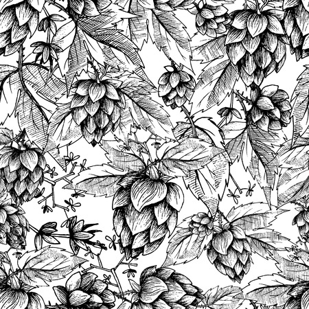 Beer hops seamless pattern of hand drawn hops cones and hops leaves, black and white background, sketch and engraving design hops plants. All element isolated.