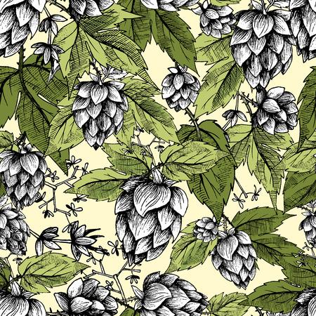 Piwo chmielu bez szwu deseń ręcznie rysowane szyszki szyszek i chmielu liści, kolorowe tło, szkic i grawerowanie projektowania chmielu roślin. Wszystkie elementy izolowane.