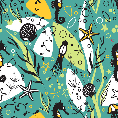 Marine life, underwater world modern design seamless pattern for wrapping, textile, print.