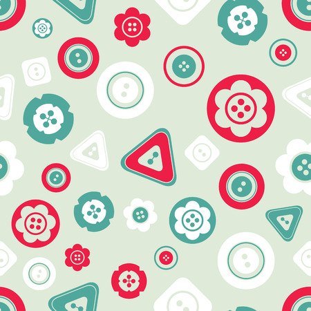 Cute colorful buttons seamless pattern. Vector isolated illustration for design and decoration greeting cards, scrapbooks, textile. Ilustração