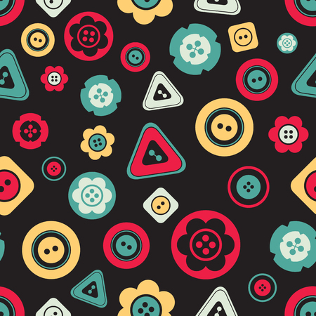 Cute colorful buttons seamless pattern on dark background. Vector isolated illustration for design and decoration greeting cards, scrapbooks, textile.