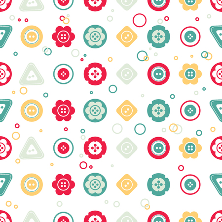 Cute colorful buttons seamless pattern. Vector isolated illustration for design and decoration greeting cards, scrapbooks, textile. Illustration