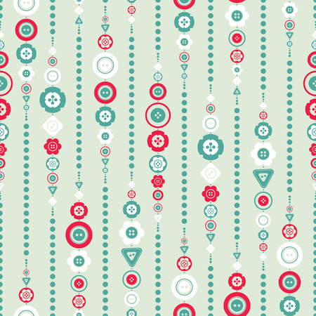 Chain of colorful bright buttons and beads seamless pattern, vector illustration. Cute design, modern colors for greeting cards, scrapbooks, textile.